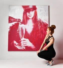 """Abstraktes Kunstwerk in Öl- und Acrylfarbe """"Save water, drink champagne"""" von Daria Kolosova, Abstrakter Expressionismus, Unikat"""