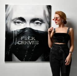 "Expressives Ölgemälde ""Fuck Corona Virus (2020)"" der russischen Künstlerin Daria Kolosova, Unikat auf Leinwand"