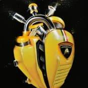 "Ölgemälde ""Yellow Heart of Lamborghini"" (2020) für Freunde des Motorsports - von Daria Kolosova"