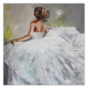 Goldenes Armband Wandbild Braut Brautkleid Brautmoden Bild Frauen Kunst Bild Malerei Ballerina Gemälde100x100