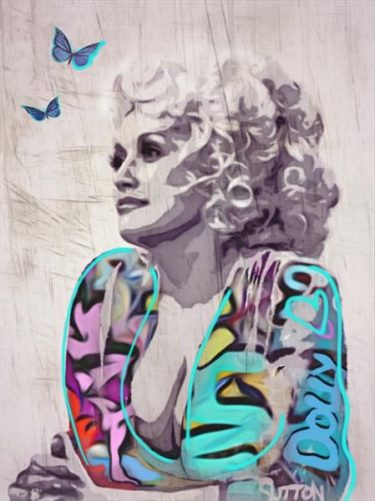 "Street Art Print ""Coat of many colours"" - Hommage an Dolly Parton von Sara Sutton"