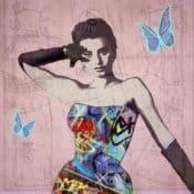 """Graffiti Art Kunstdruck """"Bella Sofia"""" Street Art inspiriertes Portrait des Filmstars Sophia Loren, von Sara Sutton"""