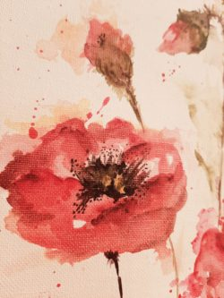 Aquarell Rote Mohnblüten, Red Poppies, Ovale Leinwand, Original