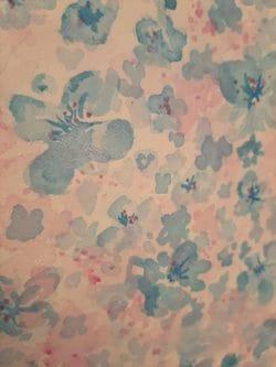 Zarte Blumen und Schmetterlinge, hellblau&rosa, Pastell-Aquarell, Original, 30x40cm Leinwand