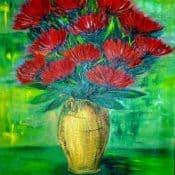 Stillleben mit roten Blumen