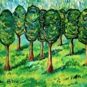 Landschaft mit 8 Bäumen