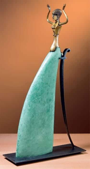 """Bronzeskulptur von Paul Wunderlich """"Pythia"""", Limitiertes Multiple"""