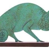 """Bronzeskulptur von Paul Wunderlich """"Chamäleon"""", Limitiertes Multiple, Metallguss"""