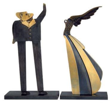 """Bronze Multiple von Paul Wunderlich - Skulpturengruppe """"Flügelfrau und Fragensteller"""""""