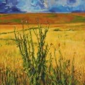 """Acrylbild  """"Landschaft mit Kornfeld und Diestelgewächs""""  70x50"""