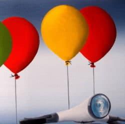 "Surrealistisches Ölgemälde ""Vespa Flying Painting"" von Trevisan Carlo"