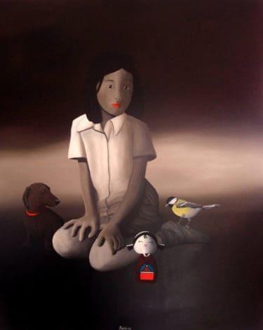 """Little girl Painting"" - Ölgemälde des italienischen Malers Trevisan Carlo"
