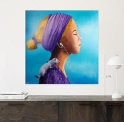 """Girl with an Ermine Painting"" - Traumhaftes Ölgemälde von Trevisan Carlo"
