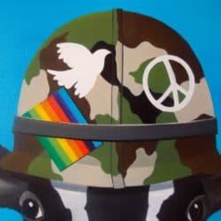 """""""Muu Peace Painting"""" - Ironisches Kunstwerk von Trevisan Carlo, Öl auf Leinwand"""