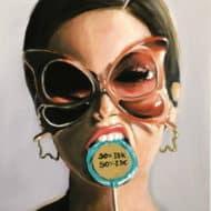 """Fotorealistisches Portraitgemälde """"Idk and idc"""" von Maria Folger, Acryl auf Leinwand"""