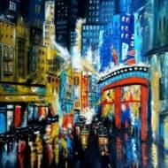 City lights -7-  wenn es dunkel wird, erstrahlt die Stadt im Glanz der vielen Lichter - expressionistisches Bild von Ulrike Sallós-Sohns
