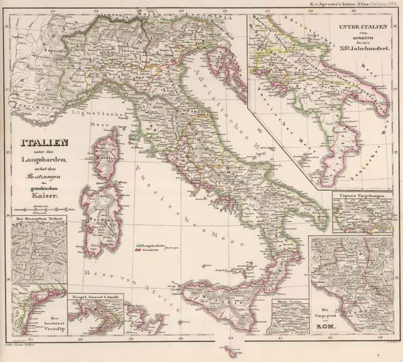 :Italien unter den Langobarden, nebst den Besitzungen der griechischen Kaiser - Spruner, 1854