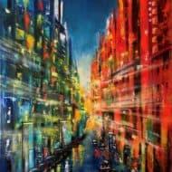 Im Lichtermeer der Großstadt - Expressives Städtebild von Ulrike Sallós-Sohns