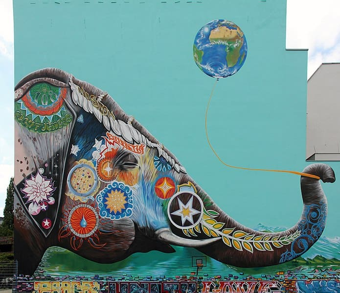 "Wandmalerei,""Elefant"" von Jadore Tong, 2016, Wilhelmstraße 7, Berlin-Kreuzberg"