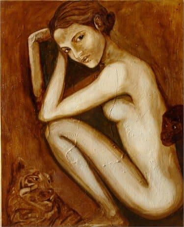 """Dame, Tiger, Affe"" - Coffee-Painting von Ali Yünlü"