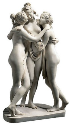 "Kunstmarmor-Skulptur ""Drei Grazien"" (1813-1816) von Antonio Canova"