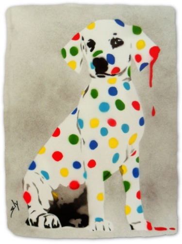 """Damien's Dotty, Spotty, Puppy ..."" - Urban Art Werk von Juan Sly (Spray Paint)"
