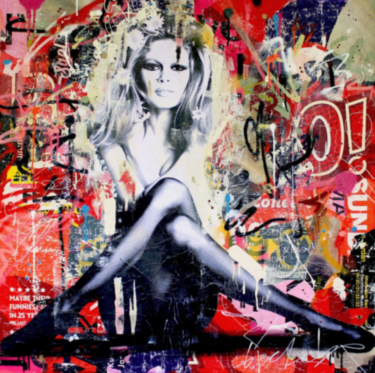 """Brigitte is in St-Tropez again"" - Mixed Media Collage des Street Art Künstlers Michiel Folkers"