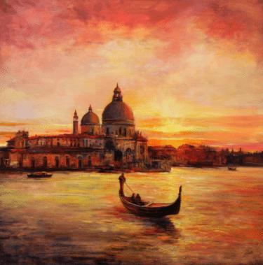 """Romantic Venice"" - Fotorealistisches Ölgemälde von Behshad Arjomandi"