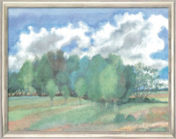 """Druckgrafik """"Landschaft mit Birken"""" (2002), von Günter Grass"""
