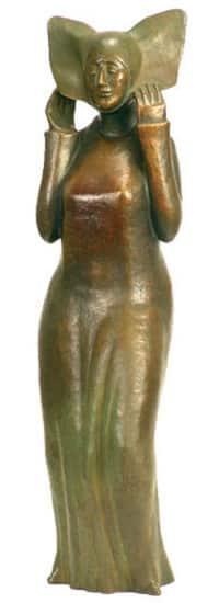 """Bronze-Skulptur """"Flügelhaube"""", von Günter Grass"""