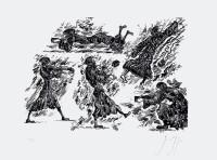 """Druckgrafik """"Knips mal, Mariechen"""" (2008), von Günter Grass"""