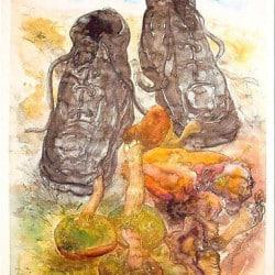 """Druckgrafik """"Pilze und Schuhe"""" von Günter Grass"""