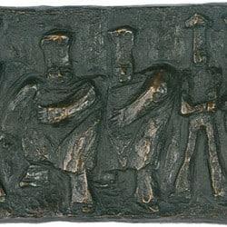 """Bronze-Relief """"Köche"""" von Günter Grass"""