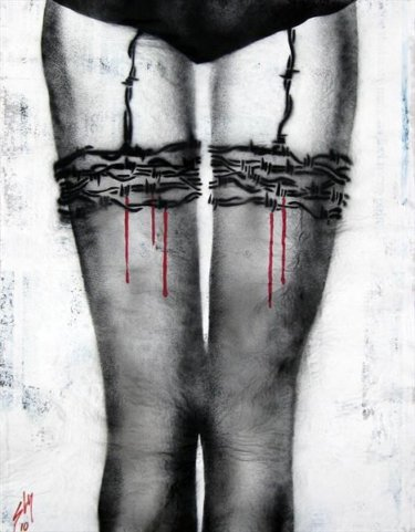 """Barbed Wire Stockings"" - Sprayed Stencil Art von Juan Sly"