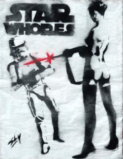 """""""Star Whores"""" - Spray-Paint Bild des britischen Urban Art Künstlers Juan Sly"""