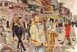 """""""Busking at Covent Garden"""" - handgemaltes Ölbild von Keith Mcbride"""