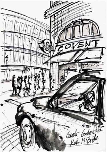 """""""Covent Garden"""" - Tuschezeichnung von Keith Mcbride"""
