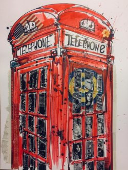 """Phonebox"" - Mixed Media Collage von Keith Mcbride"