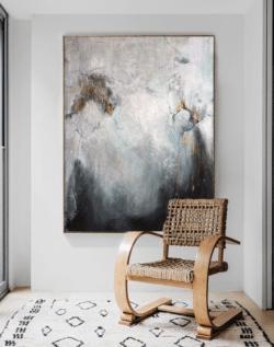 """Weiß, Grau, Schwarz"" - Großformatiges, abstraktes Ölgemälde"