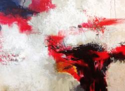 """""""Rot, Weiß und Schwarz"""" - Großformatiges, abstraktes Ölgemälde"""