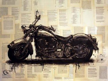 """""""Harley Davidson"""" - Acrylbild und Mixed Media Collage von Darren Crowley"""