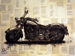 """Harley Davidson"" - Acrylbild und Mixed Media Collage von Darren Crowley"