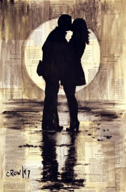 """Moonlit Lovers"" - Acrylbild & Mixed Media Collage von Darren Crowley"