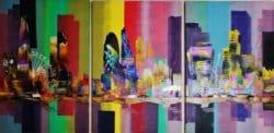 """City London Bridge 0737"" - 3-teiliges Acrylgemälde von Eraclis Aristidou"