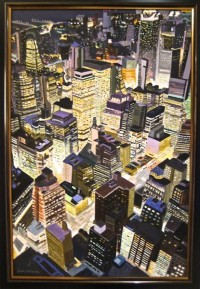 """New York by Night"" - handgemaltes Acrylgemälde von Laurie Phillips"
