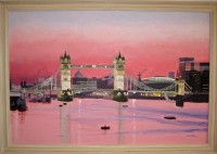 """Evening At Tower Bridge"" - handgemaltes Acrylgemälde von Laurie Phillips"