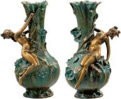 """Replikat von Louis Auguste Moreau: 2 Vasen """"Marguerites"""" und """"Coquelicot"""" in Bronze (antikgrün)"""