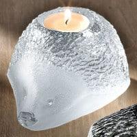 """Glas-Teelichthalter """"Igel"""" von Mats Jonasson, Version in Weiß"""