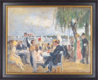 """Max Liebermann: """"Gartencafé an der Elbe"""" (1902), gerahmte Original-Replik"""