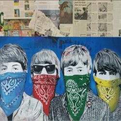 """""""Beatles Banditos - Blue"""" - handsignierter Siebdruck & Mixed Media von Mr. Brainwash"""